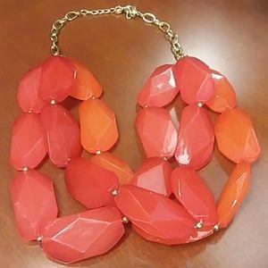 Red Orange Statement Necklace Spring Summer